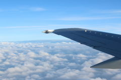 Wing of Plane. Wing of a flying plane in the sky above cloud and blue sky around Royalty Free Stock Image