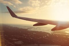 Wing of a plane's wing  Stock Photography