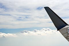 Wing plane in the sky Stock Images