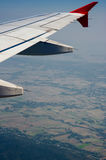 Wing of plane view from window. Of the airplane royalty free stock photos