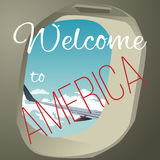 Wing the plane from the window. Summer weather for travel around the world. Hospitable writing. Lettering Stock Images