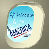 Wing the plane from the window. Summer weather for travel around the world. Hospitable writing. Lettering Royalty Free Stock Image