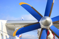 Wing with propeller of the passenger plane Stock Image