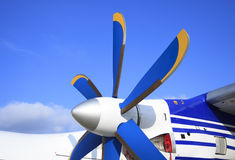 Wing with propeller of the passenger plane Royalty Free Stock Images