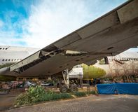 Wing of Salvage Aircraft. Airplane Being Remove of Its Metal Part for Resale in Boneyard. Wing of Salvage Aircraft. Airplane Being Remove of Its Metal Part for stock image