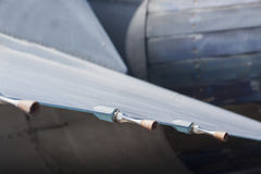 Wing sensors on fighter jet. Details of aircraft Stock Photography
