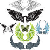 Wing set. 7 wings design collection Royalty Free Illustration