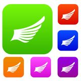 Wing set collection. Wing set icon in different colors isolated vector illustration. Premium collection Royalty Free Stock Photo