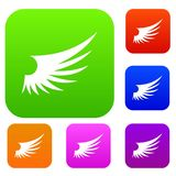 Wing set collection. Wing set icon in different colors isolated vector illustration. Premium collection Stock Image