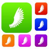 Wing set collection. Wing set icon in different colors isolated vector illustration. Premium collection Royalty Free Stock Photography