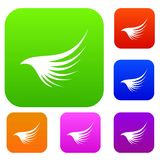 Wing set collection. Wing set icon in different colors isolated vector illustration. Premium collection Stock Images
