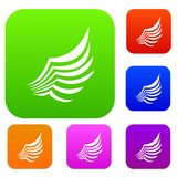 Wing set collection. Wing set icon in different colors isolated vector illustration. Premium collection Stock Photos