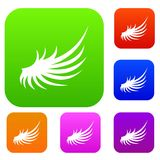 Wing set collection. Wing set icon in different colors isolated vector illustration. Premium collection Royalty Free Stock Photos