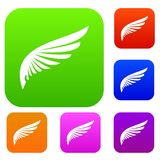 Wing set collection. Wing set icon in different colors isolated vector illustration. Premium collection Stock Photo