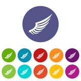 Wing set icons. In different colors isolated on white background Royalty Free Stock Photos