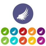 Wing set icons. In different colors isolated on white background Royalty Free Stock Image