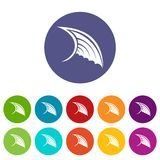 Wing set icons. In different colors isolated on white background Royalty Free Stock Photography