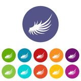 Wing set icons. In different colors isolated on white background Royalty Free Stock Photo