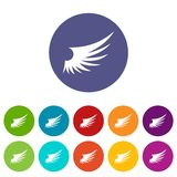 Wing set icons. In different colors isolated on white background Stock Photography