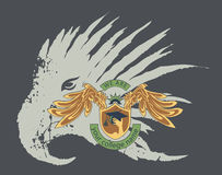 Wing and shield for college club on grunge eagle b Royalty Free Stock Photography