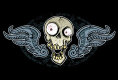 Crazy Skull and Wings. Wing Skull design. Perfect for tee shirt graphic Stock Photos