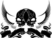 Wing Skull Heraldry. Black And White Wing Skull Heraldry Royalty Free Stock Image