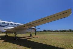 Wing Twin Prop Aircraft Close Stock Image
