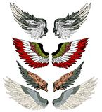Hand drawn wing vector set.colorful Sticker wing tattoo.Doodle and sketch style tattoo. Stock Photos