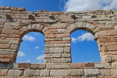 """""""The Wing"""" at Verona Arena, Italy. Four isolated arcs called """"the wing"""" at the Verona Arena are the last remaining pieces of the outmost circle Royalty Free Stock Image"""