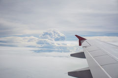 Wing view with blue sky and cloud Royalty Free Stock Images