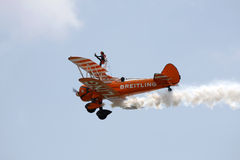 Wing walker. At Swansea air show, South Wales, UK, 9th July 2011 stock images