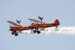Wing walkers. At Swansea air show, South Wales, UK, 9th July 2011 royalty free stock image