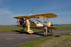 Wing walking - Boeing Stearman E 75 Stock Photo