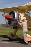 Wing walking - Boeing Stearman E 75 stock image
