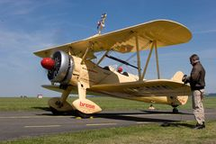 Wing walking - Boeing Stearman E 75 Stock Image