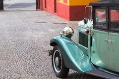 Wing, wheel and headlight of a 1932 vintage car parked in Fortaleza de Sao Tiago in Funchal. stock photo