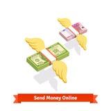 Winged结合了美元,并且欧洲票据包装飞行 图库摄影