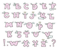 Winged alphabet. Cute flying letters. Vector EPS 10 royalty free illustration