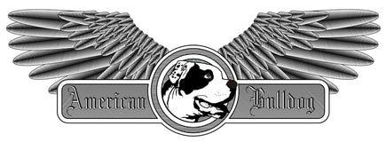 Winged American Bulldog logo Stock Photo