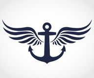 Winged anchor symbol royalty free stock image