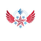 Winged ancient pentagonal Star emblem, the best. Heraldic vector Stock Photo
