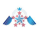 Winged ancient Star emblem decorated with imperial crown. Herald Royalty Free Stock Photography