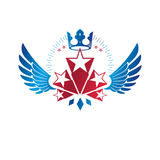 Winged ancient Star emblem decorated with imperial crown. Herald Stock Photography