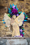 Winged Angel Sculpture on Grave Royalty Free Stock Photos