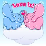 Winged baby elephant in love. Two winged lovers elephants on the cloud soar to the heights format Royalty Free Illustration