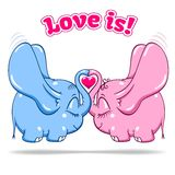 Winged baby elephant in love on white Royalty Free Stock Photos