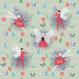 Winged ballet dancers with flowers and flying butterflies on background of musical notes. Stock Photo