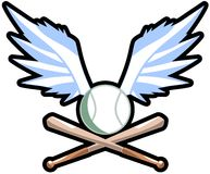 Winged baseball ball with bats Royalty Free Stock Photography