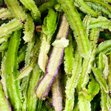 Winged Bean. Vegetable stall in Sri Lanka with exotic Winged Bean also known as the Goa bean and Asparagus Pea stock photography
