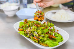 Winged bean spicy mix with cashew nut. Thai food healthy mix salad. Winged bean spicy mix with cashew nut Stock Image